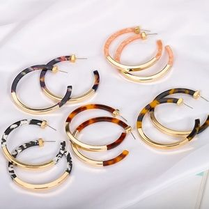 Hoop Earrings with Gold Accent
